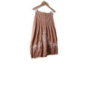 Chasing Unicorns Brown White Embrodiered Skirt S